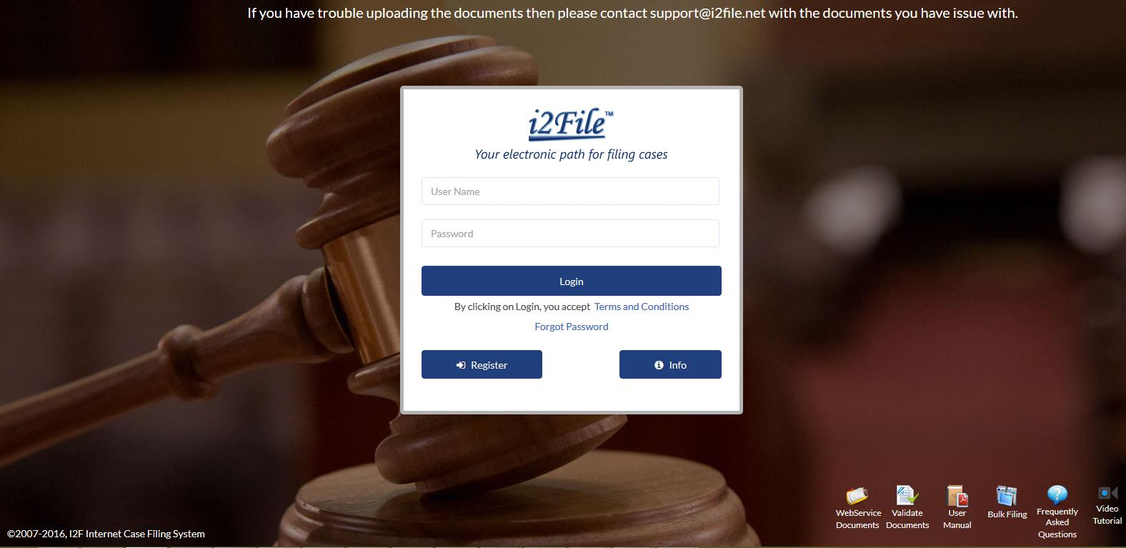 11 5. LOGIN Login screen is created for the users to access the site by entering their username and password. On successful login, Attorney will be redirected to the 'jurisdiction' selection page.