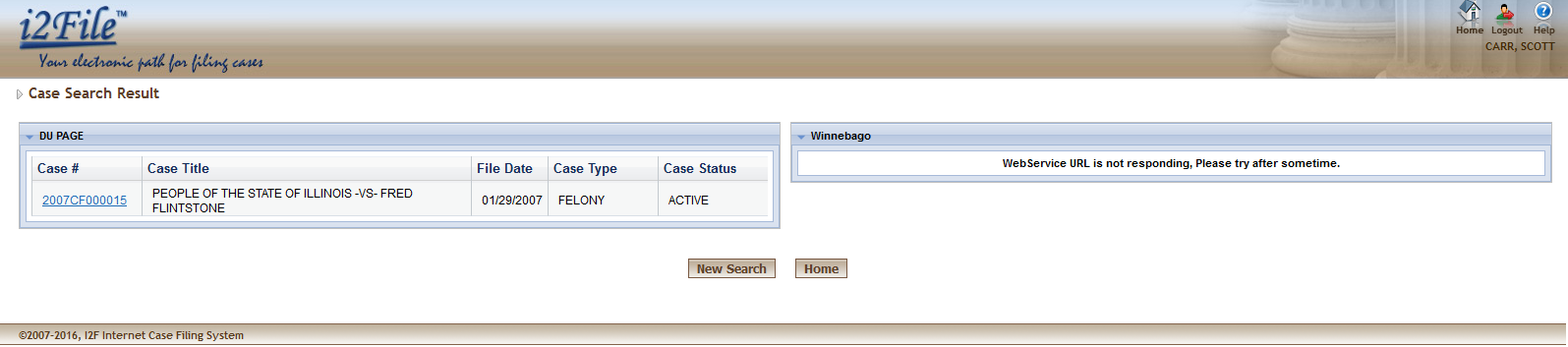 Case number search User will have to enter a valid case number and I2File will search details of that case in all counties or selected counties.
