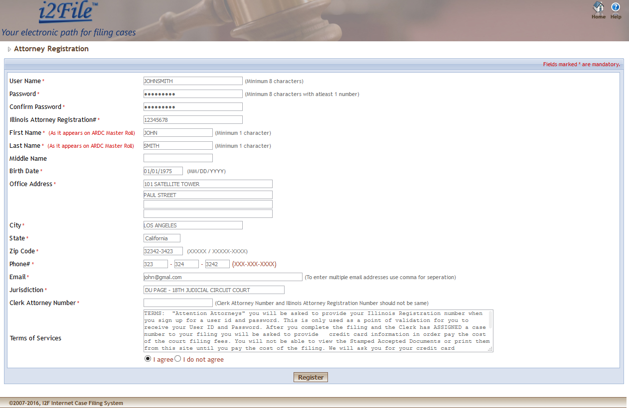 4 Attorney enters contact information on the Registration page.