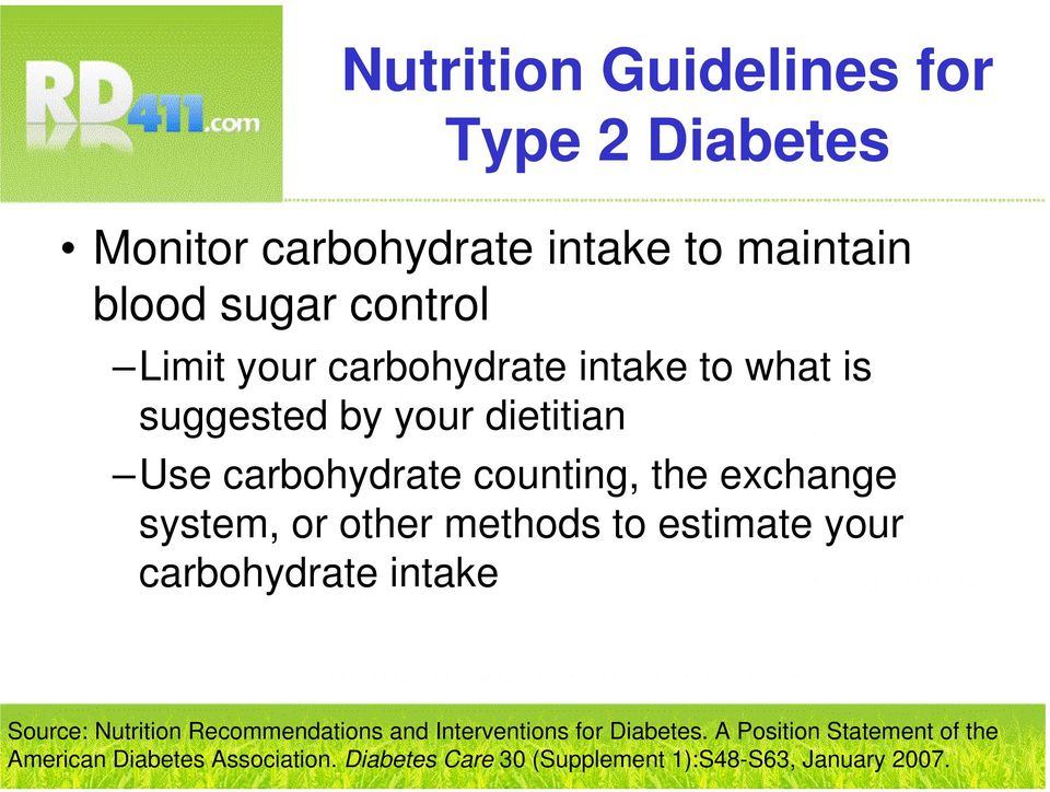 estimate your carbohydrate intake Source: Nutrition Recommendations and Interventions for Diabetes.
