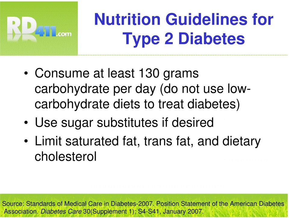 dietary cholesterol Source: Standards of Medical Care in Diabetes-2007.