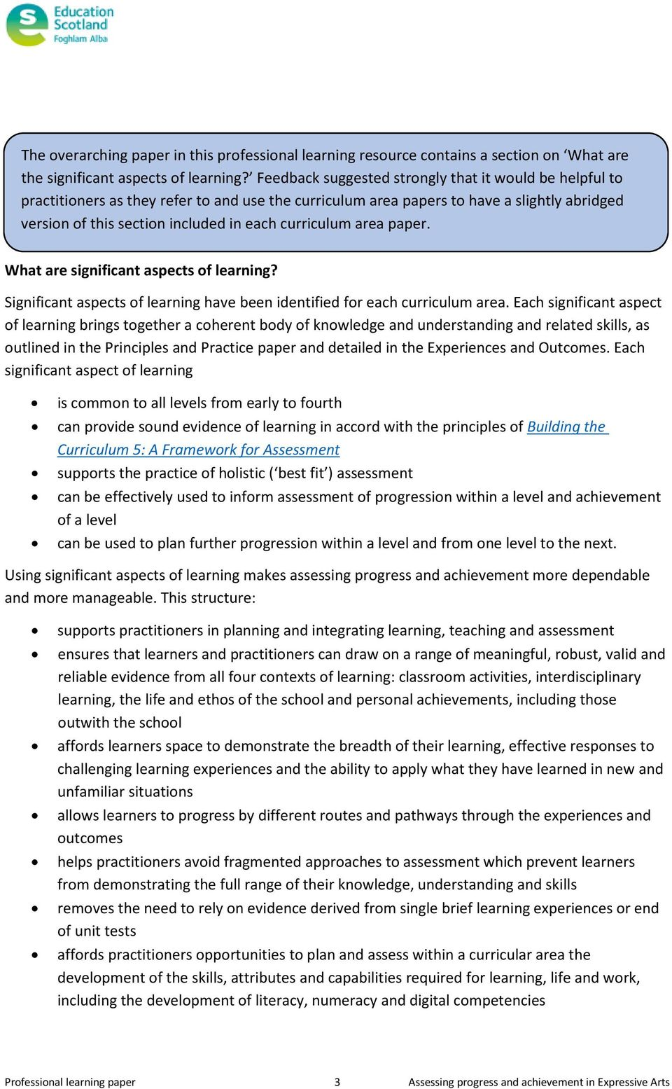 curriculum area paper. What are significant aspects of learning? Significant aspects of learning have been identified for each curriculum area.