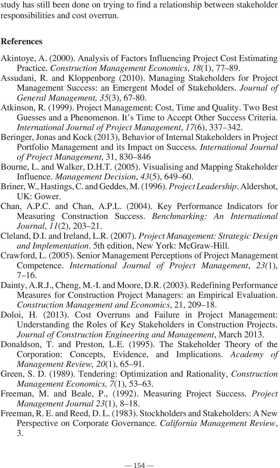 Management: Strategic Design and Implementation International Journal of Project Management, Construction Management and