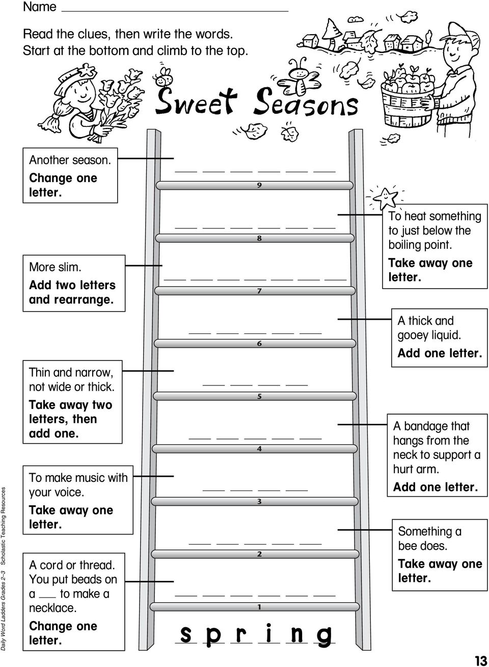 Daily Word Ladders Grades Scholastic Teaching Resources Thin and narrow, not wide or thick.