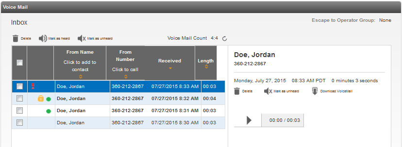 Voice Mail The Voice Mail section of the portal allows for quick and easy access to your Voice Mail messages and mailbox settings.