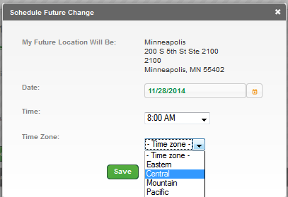 6. Click the Time drop down box. 7. Select the time, a.m. or p.m., that you want the 911 change to take effect. 8.