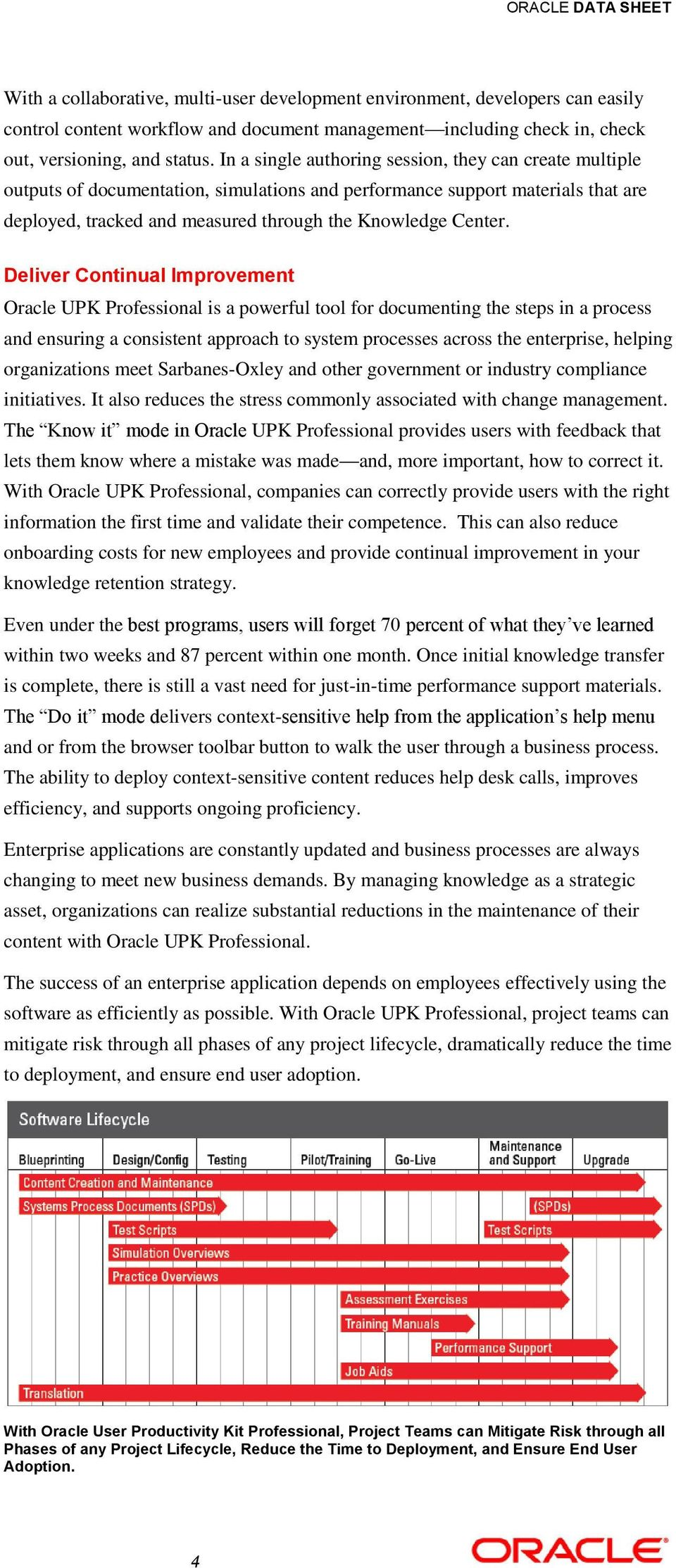 Deliver Continual Improvement Oracle UPK Professional is a powerful tool for documenting the steps in a process and ensuring a consistent approach to system processes across the enterprise, helping