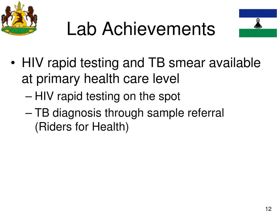 level HIV rapid testing on the spot TB