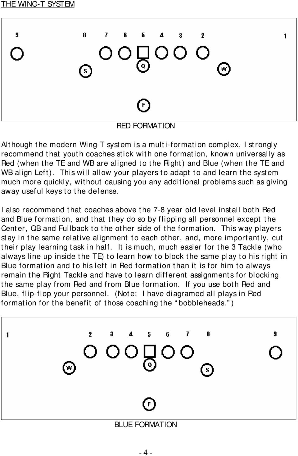 This will allow your players to adapt to and learn the system much more quickly, without causing you any additional problems such as giving away useful keys to the defense.