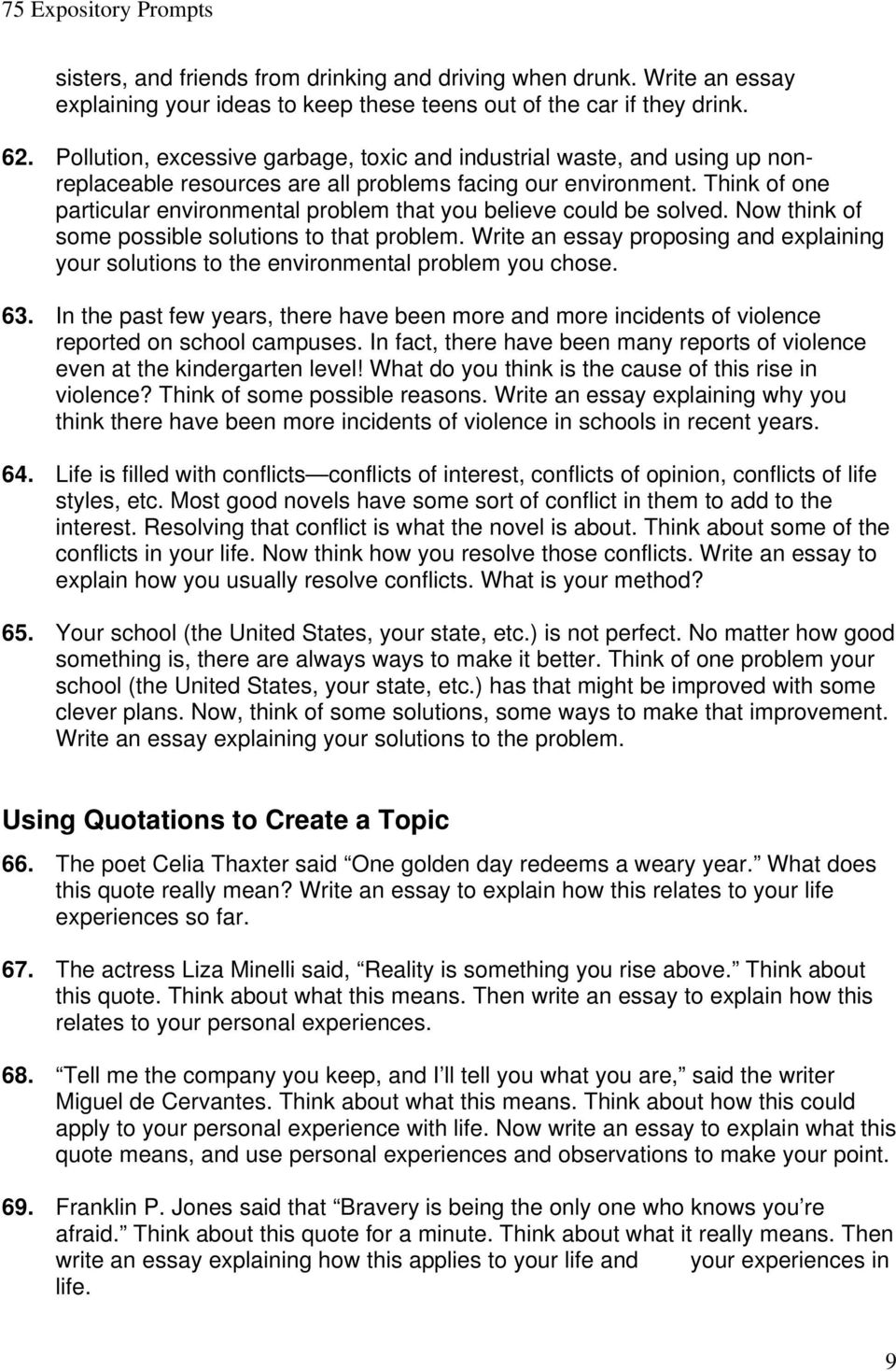 75 expository prompts pdf think of one particular environmental problem that you believe could be solved now think of