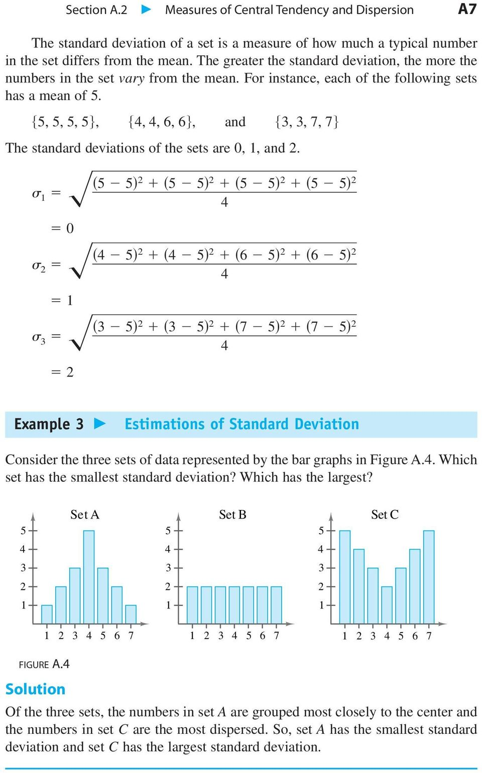 Measures of Central Tendency and Dispersion A7 6 6 7 7 Example Estimations of Standard Deviation Consider the three sets of data represented by the bar graphs in Figure A.