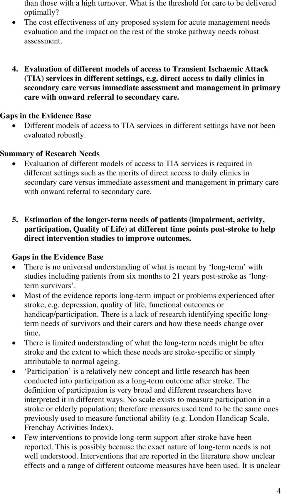 Evaluation of different models of access to Transient Ischaemic Attack (TIA) services in different settings