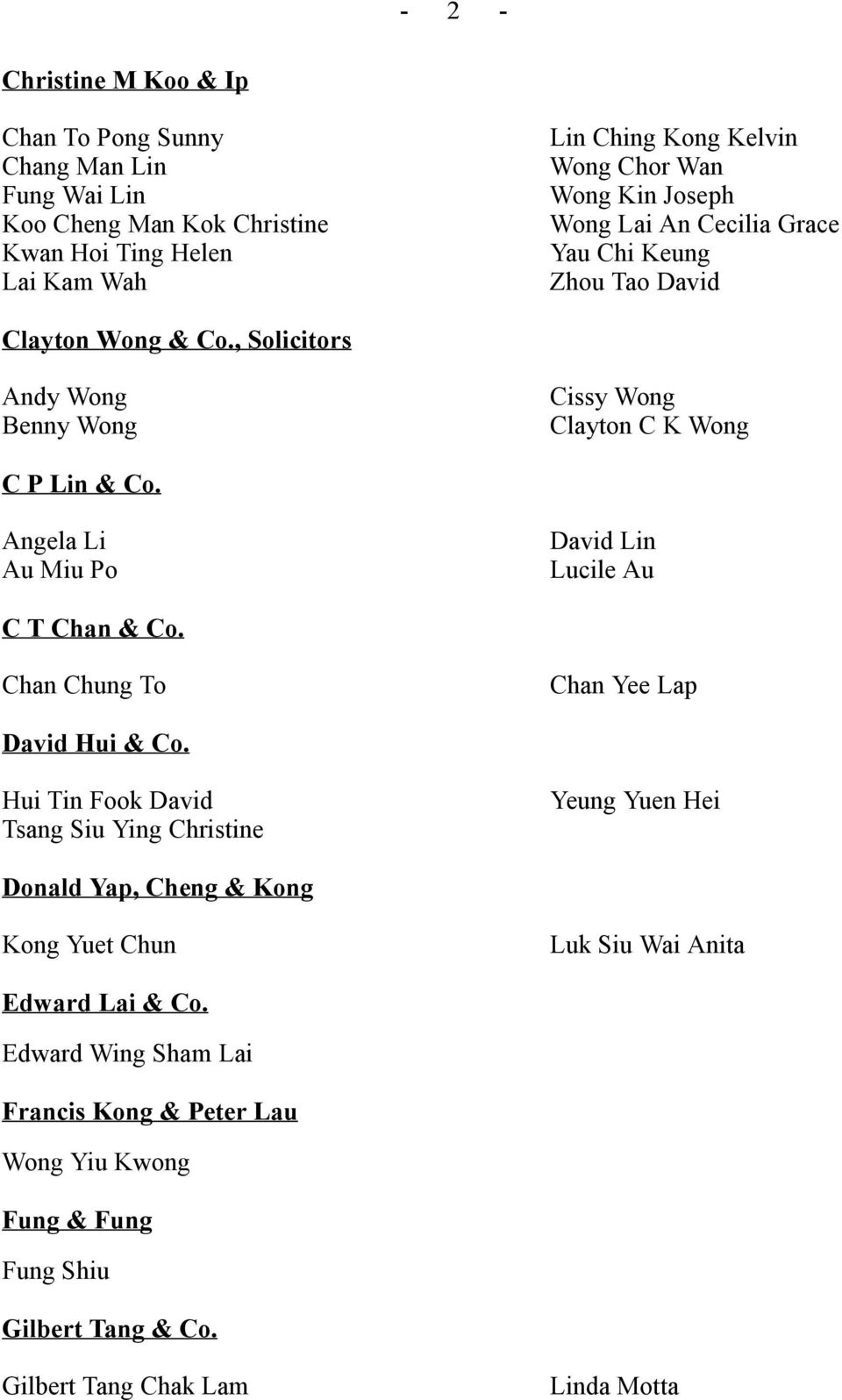 Angela Li Au Miu Po David Lin Lucile Au C T Chan & Co. Chan Chung To Chan Yee Lap David Hui & Co.