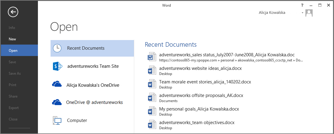 Word, Excel, and PowerPoint Whether you start from your desktop or online with Office 365, you can create any type of document (Word document, Excel workbook, and PowerPoint presentation) and then