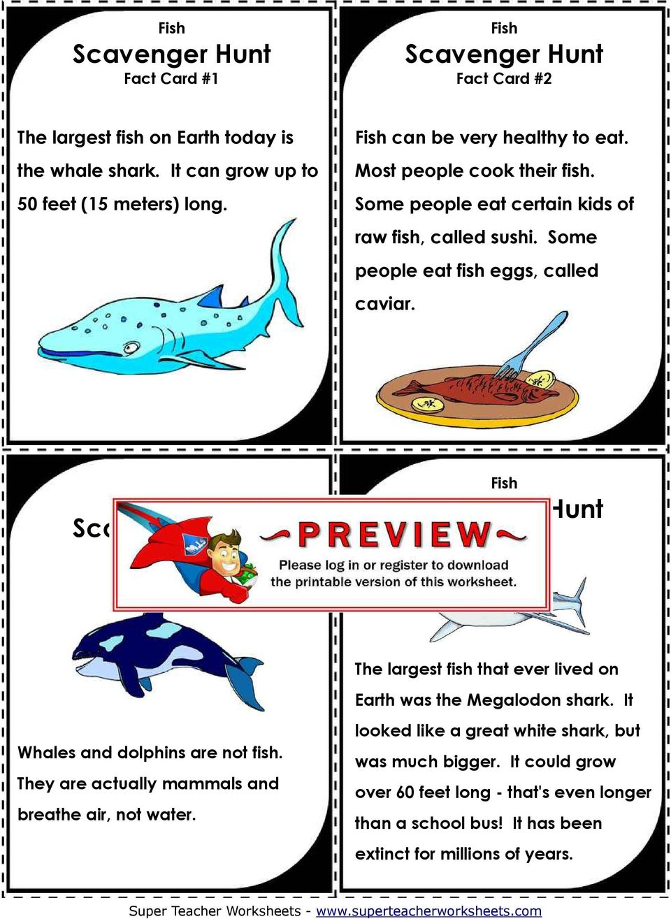 Fact Card #3 Fact Card #4 The largest fish that ever lived on Earth was the Megalodon shark. It Whales and dolphins are not fish.