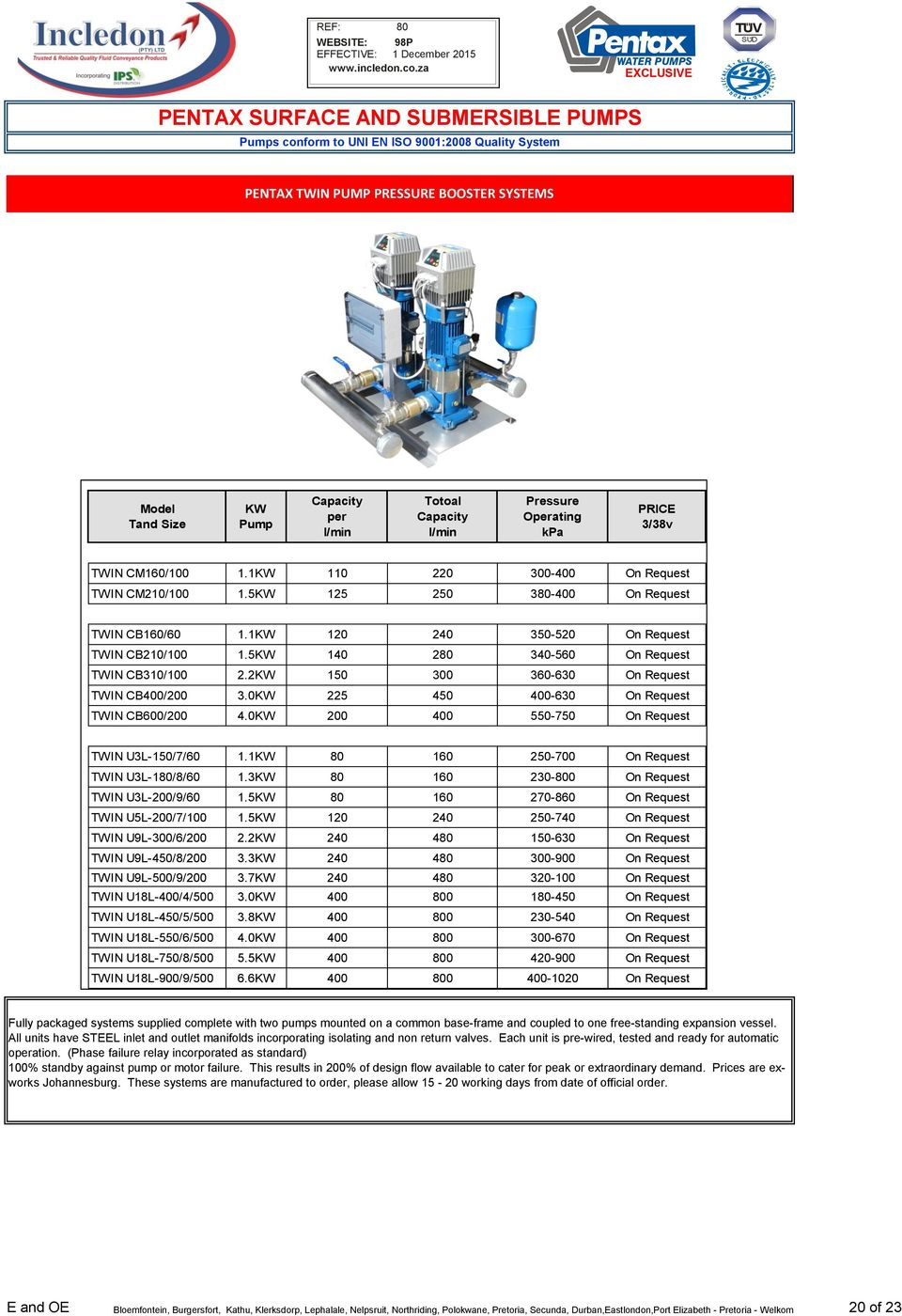 pentax surface and submersible pumps pdf 2kw 15 3 36 63 on request twin cb 2 3 kw 225