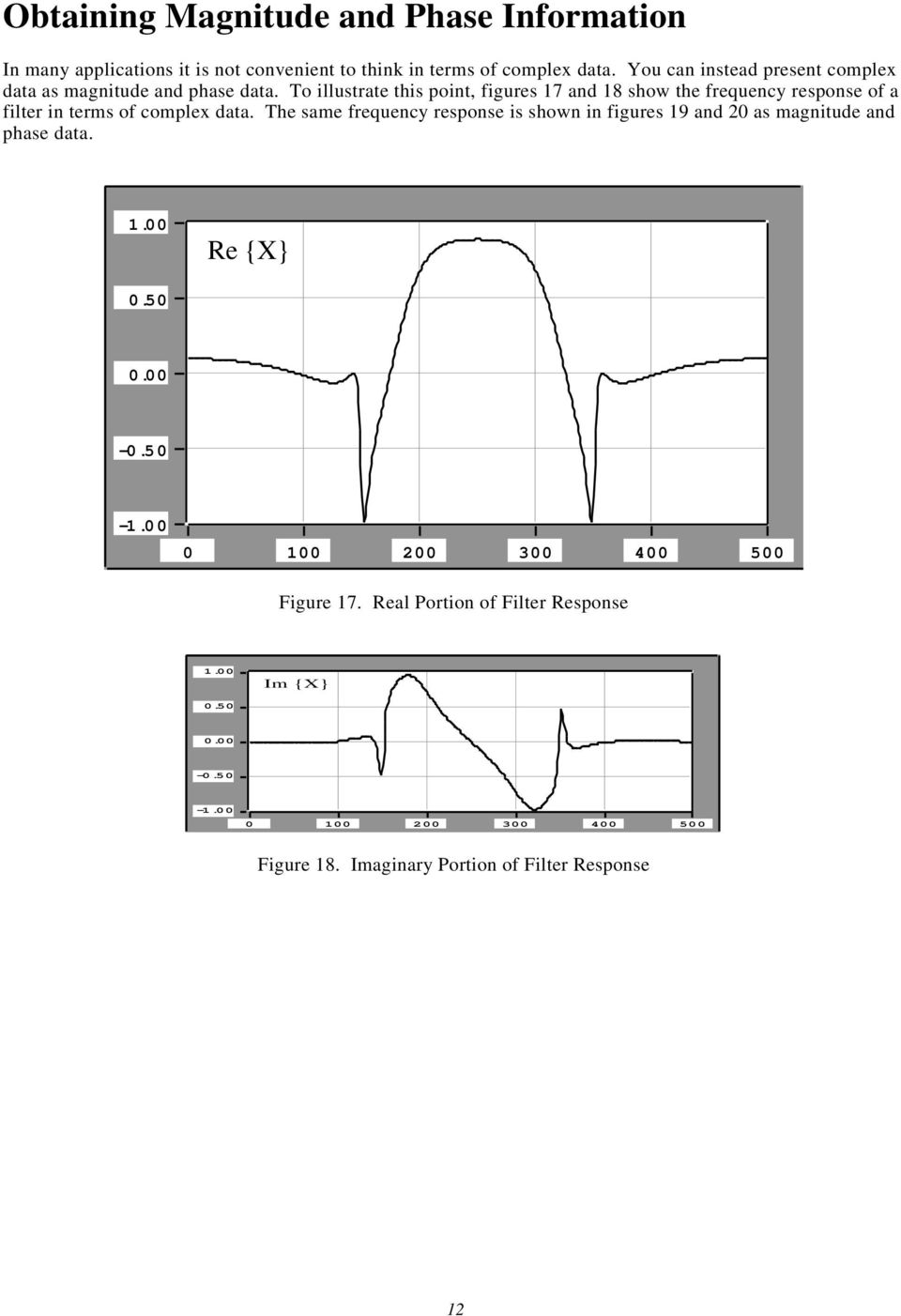 To illustrate this point, figures 17 and 18 show the frequency response of a filter in terms of complex data.