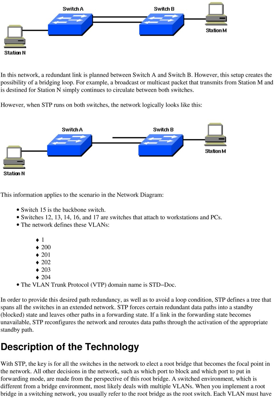 However, when STP runs on both switches, the network logically looks like this: This information applies to the scenario in the Network Diagram: Switch 15 is the backbone switch.