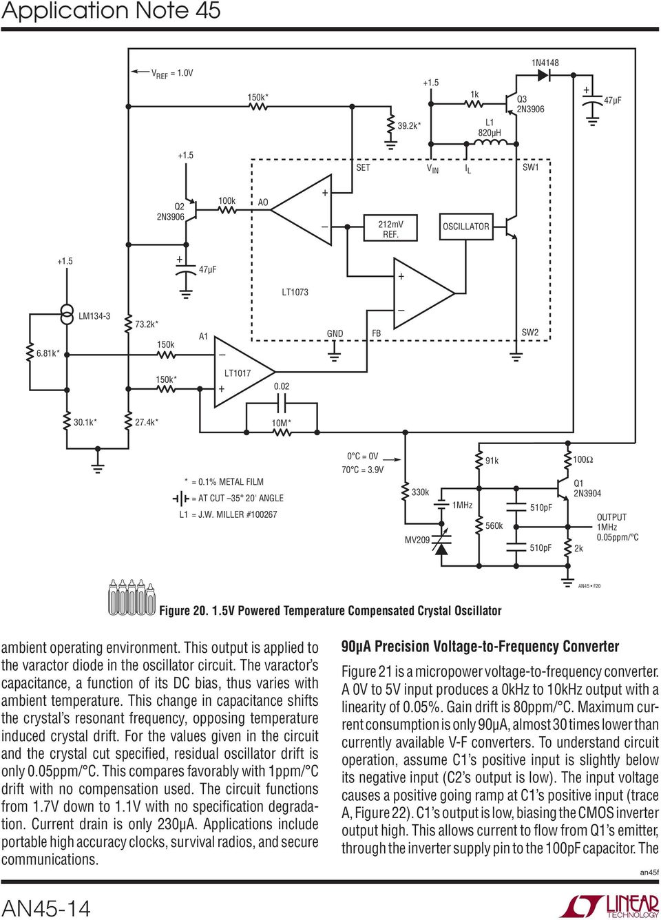 Application Note 45 June Measurement And Control Circuit Collection 20 Ma Current Loop Measuring Circuits Basics I Industrial This Change In Capacitance Shifts The Crystal S Resonant Frequency Opposing Temperature Induced Drift