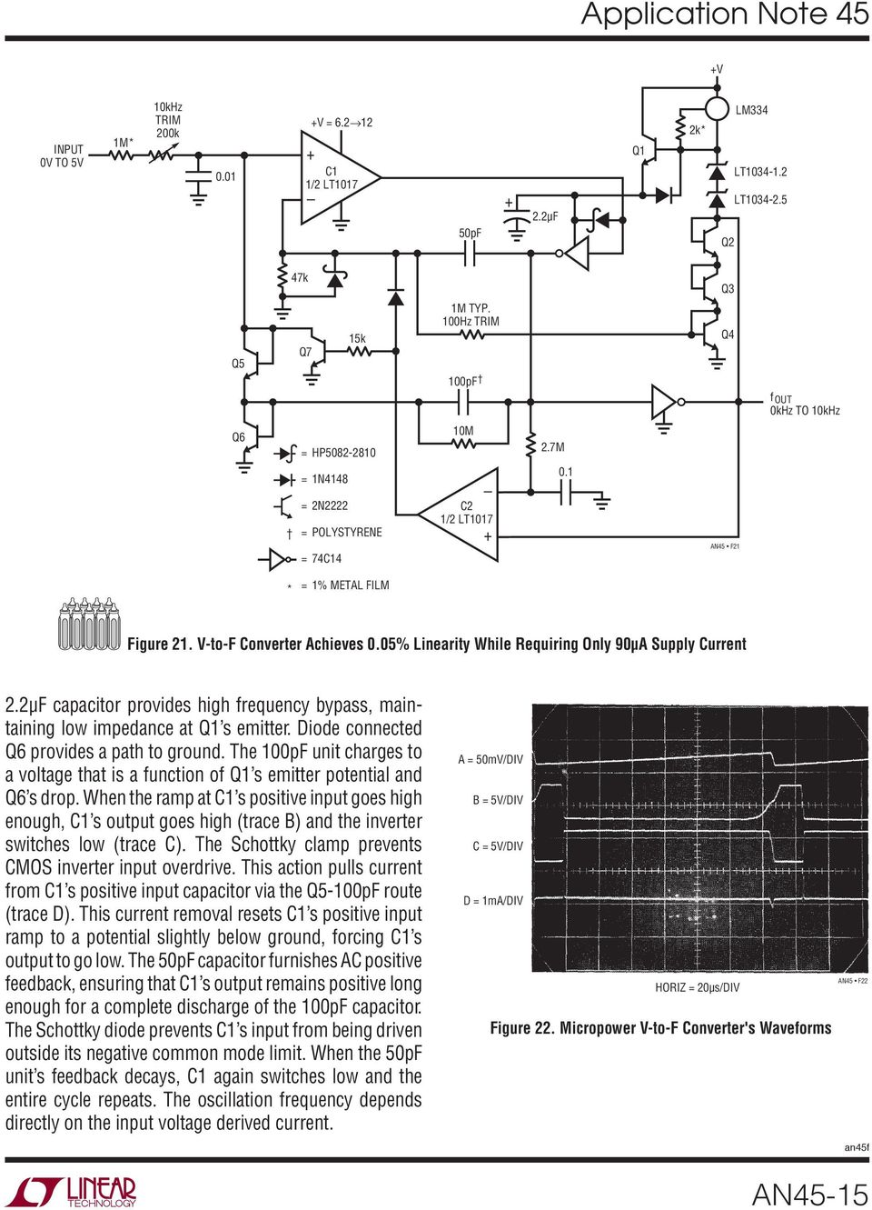 Application Note 45 June Measurement And Control Circuit Collection Lt1006 Precision Single Supply Op Amp Linear Technology The 100pf Unit Charges To A Voltage That Is Function Of Q1 S Emitter Potential