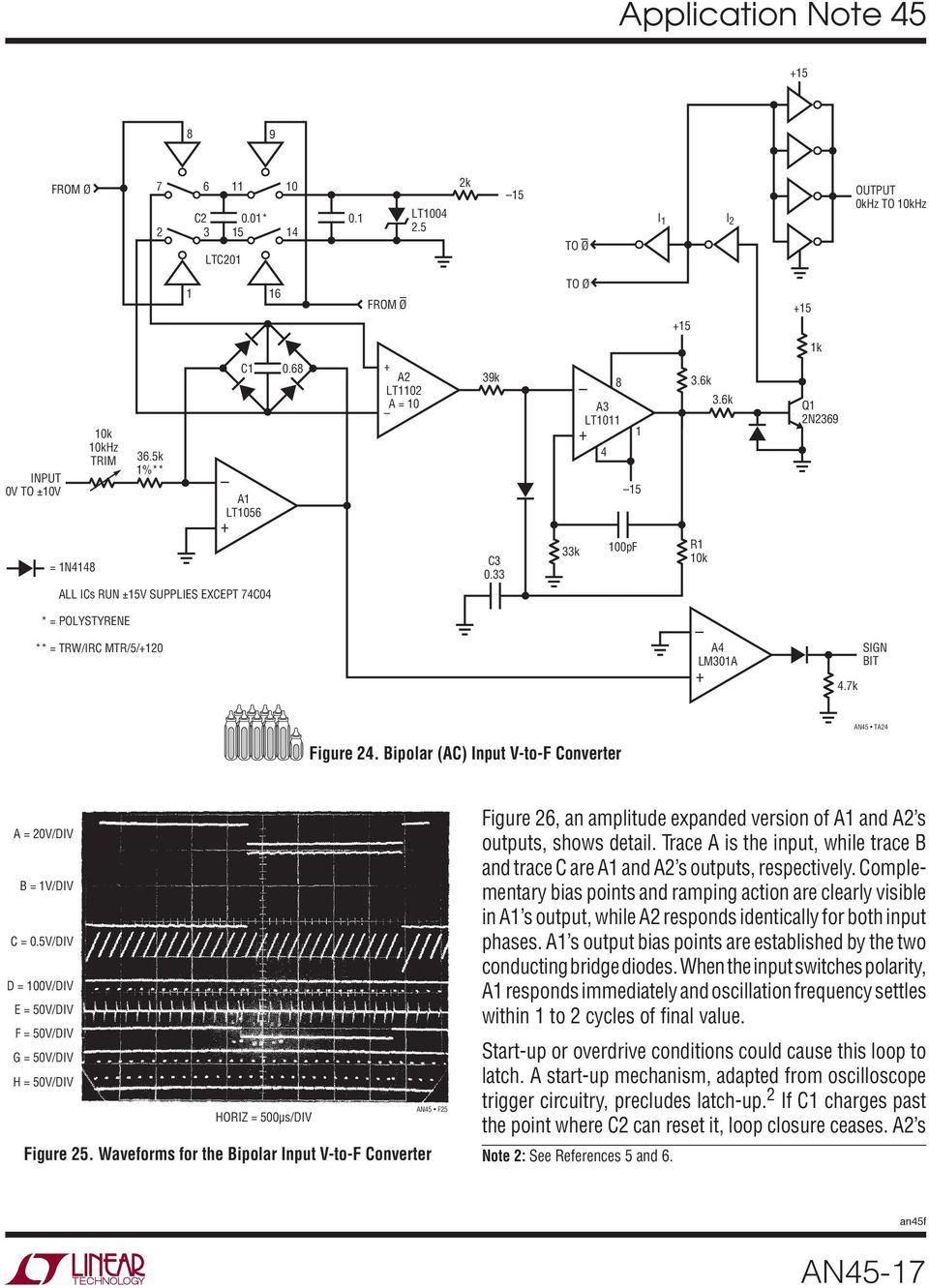 Application Note 45 June Measurement And Control Circuit Collection Lt1006 Precision Single Supply Op Amp Linear Technology Waveforms For The Bipolar Input V To F Converter Figure 26 An Amplitude