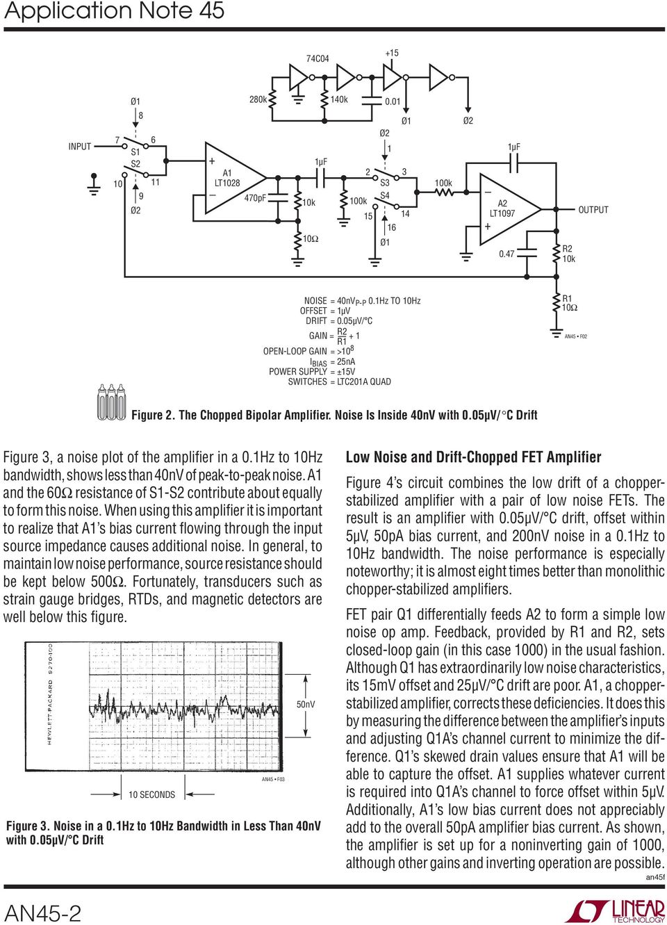 Application Note 45 June Measurement And Control Circuit Collection Lt1006 Precision Single Supply Op Amp Linear Technology A1 The 60 Resistance Of S1 S2 Contribute About Equally To Form This Noise