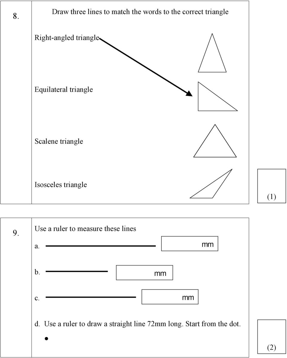 Isosceles Triangle (1) 9 Use A Ruler To Measure These Lines A