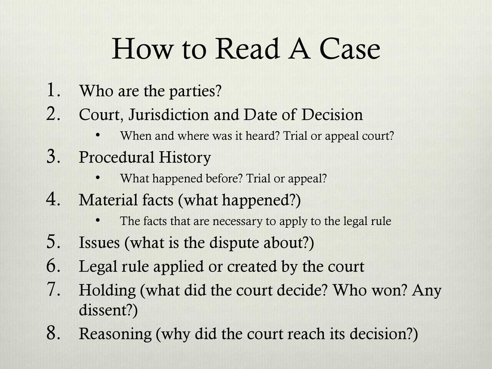 ) The facts that are necessary to apply to the legal rule 5. Issues (what is the dispute about?) 6.