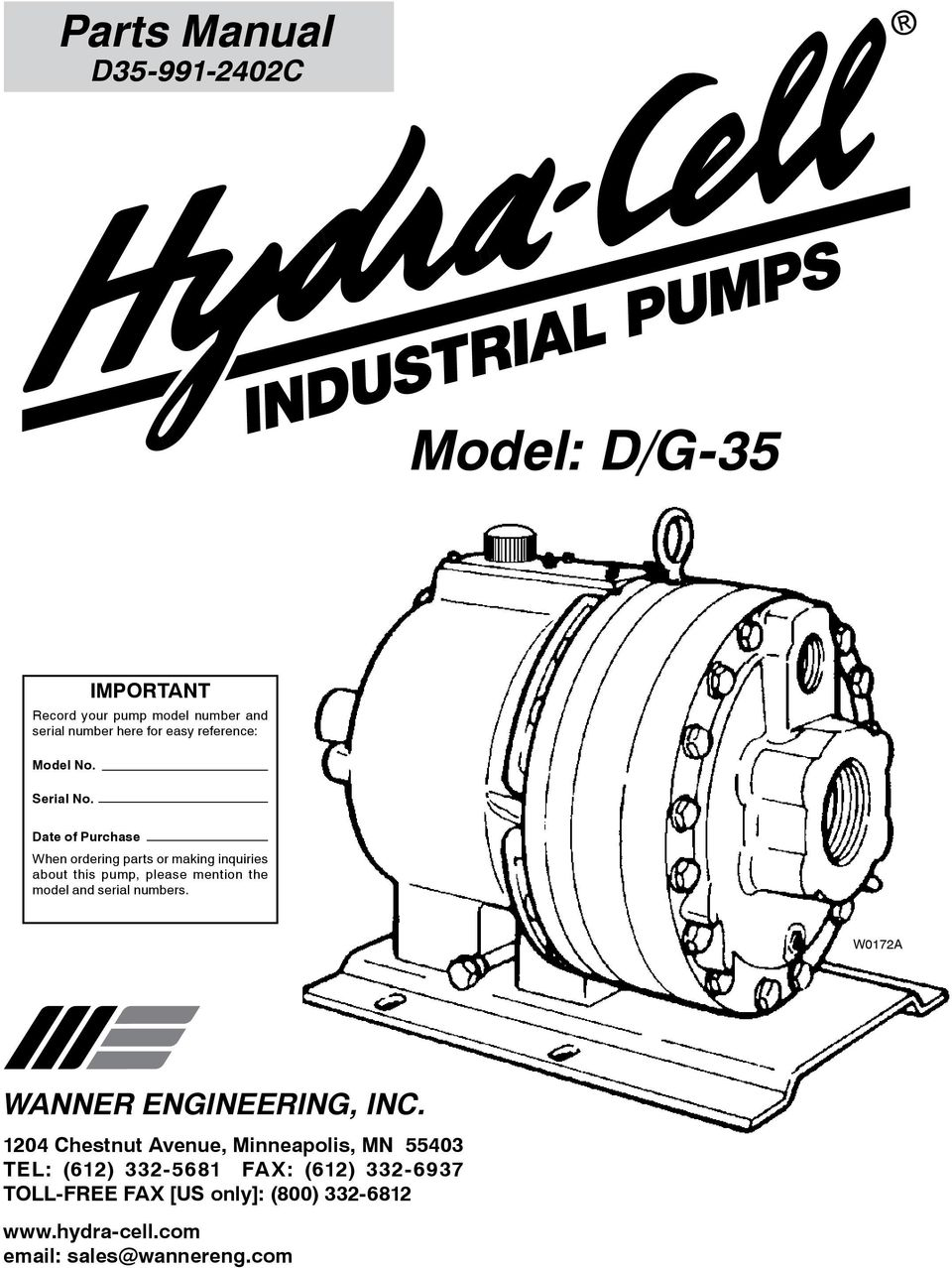 Model: D/G-35  Parts Manual D C WANNER ENGINEERING, INC