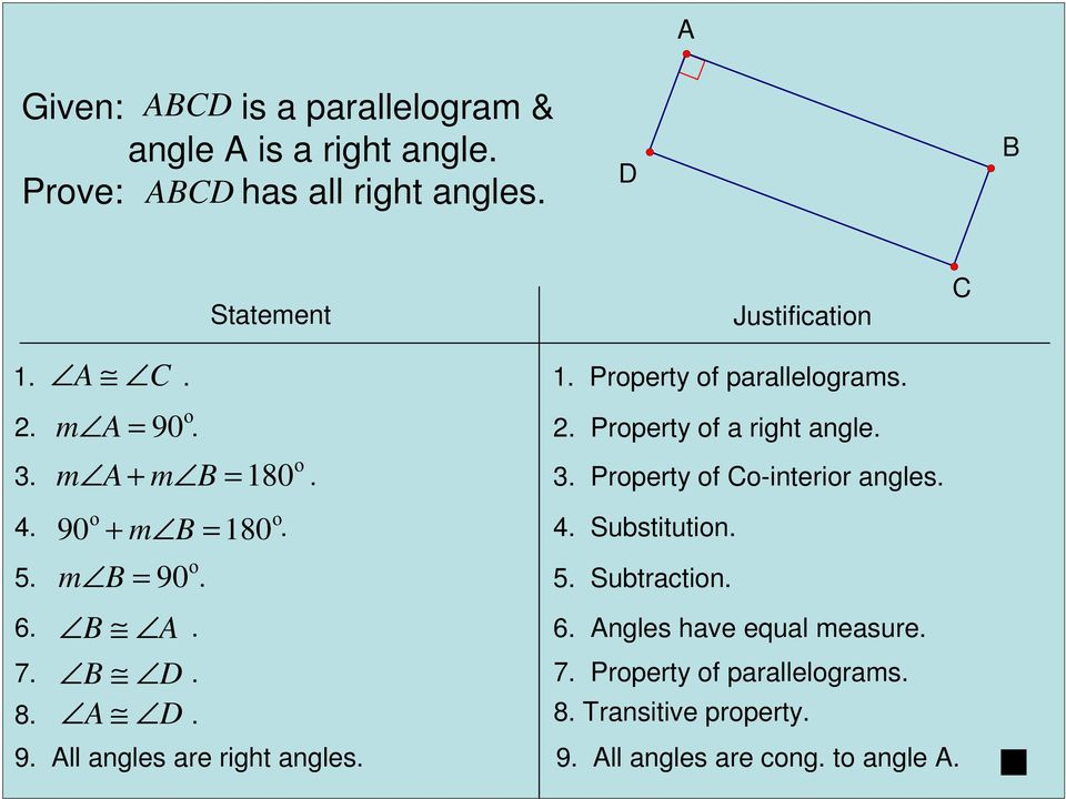 . 3. Property of o-interior angles. 90 + m = 180 4.. 4. Substitution. 5. m = 90. 5. Subtraction. 6.
