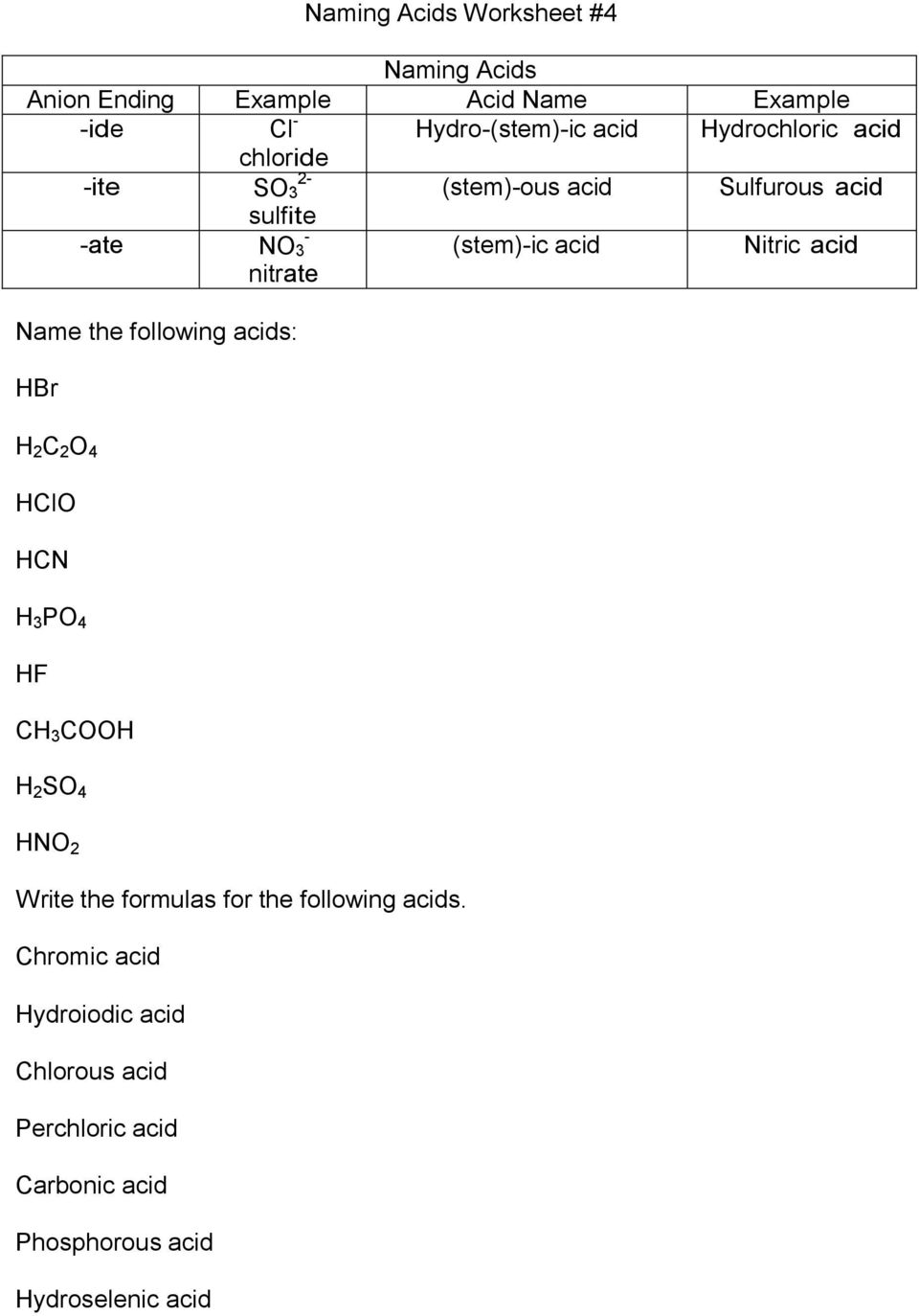 Nitric acid Name the following acids: HBr H 2 C 2 O 4 HClO HCN H 3 PO 4 HF CH 3 COOH H 2 SO 4 HNO 2 Write the