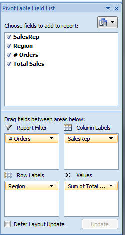 16. Try using the drop-down filter buttons for Sales Rep and Region to hide selected data rows and columns. 17.