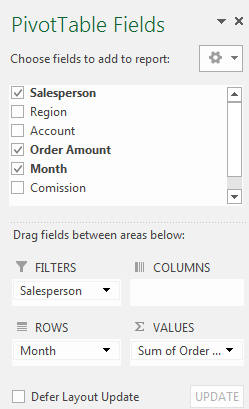 1.4. Filters Sometimes you may want focus on just a certain section of your data. Filters can be used to narrow down the data in your PivotTable, allowing you to view only the information you need.