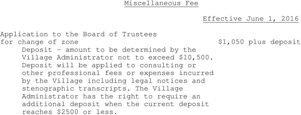 Deposit will be applied to consulting or other professional fees or expenses incurred by the Village including legal