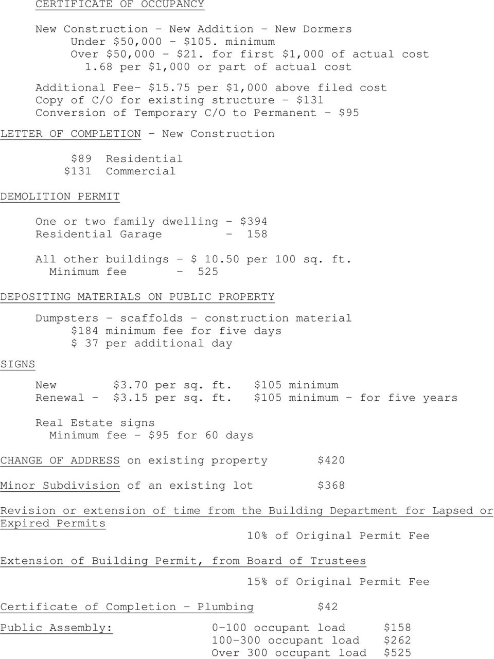 75 per $1,000 above filed cost Copy of C/O for existing structure - $131 Conversion of Temporary C/O to Permanent - $95 LETTER OF COMPLETION - New Construction DEMOLITION PERMIT $89 Residential $131