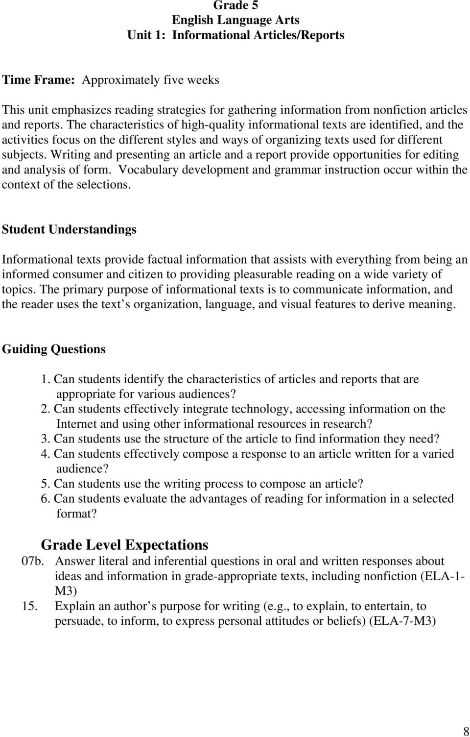 Writing and presenting an article and a report provide opportunities for editing and analysis of form. Vocabulary development and grammar instruction occur within the context of the selections.