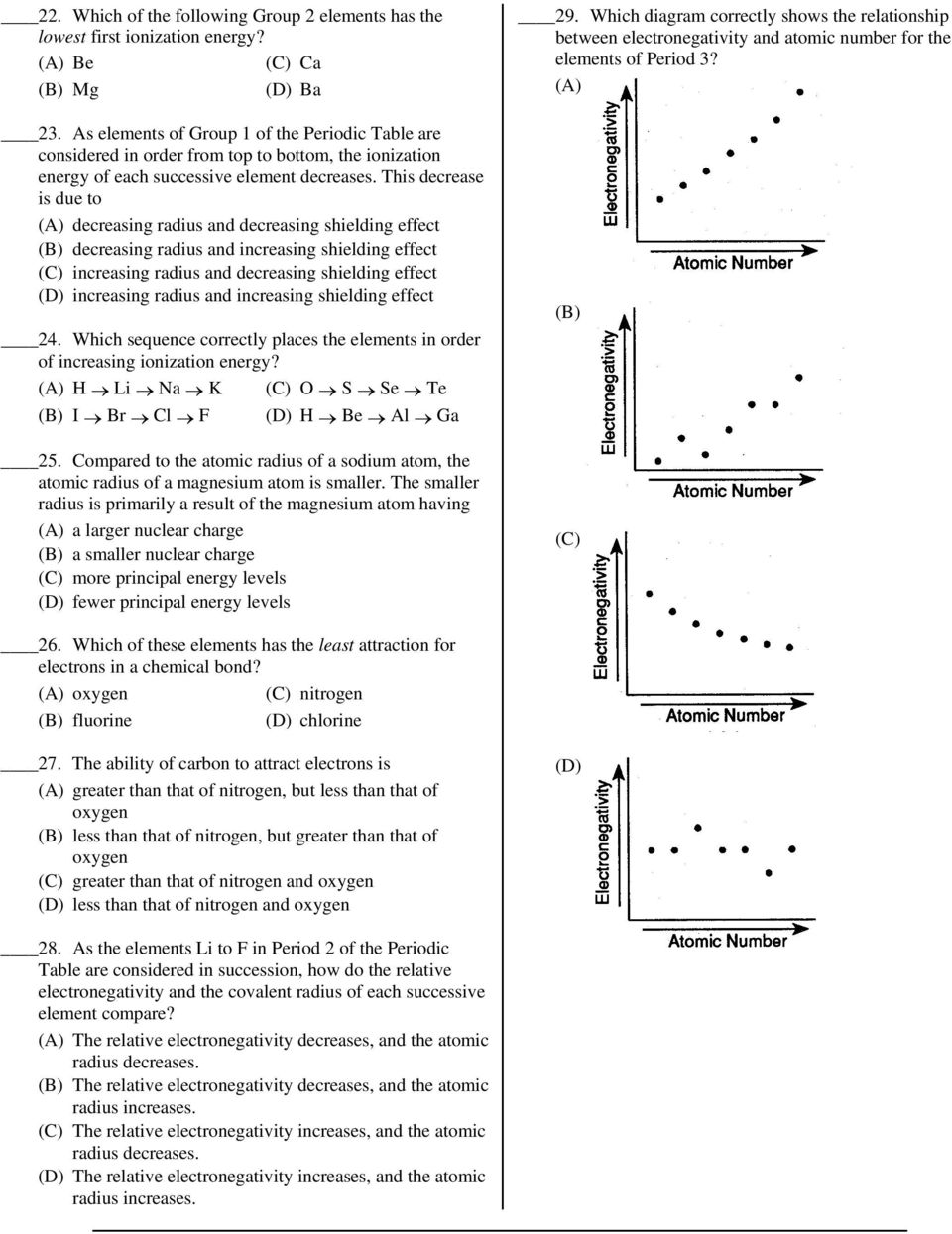 Name Worksheet Periodic Trends 11 Which Sequence Of Elements Is