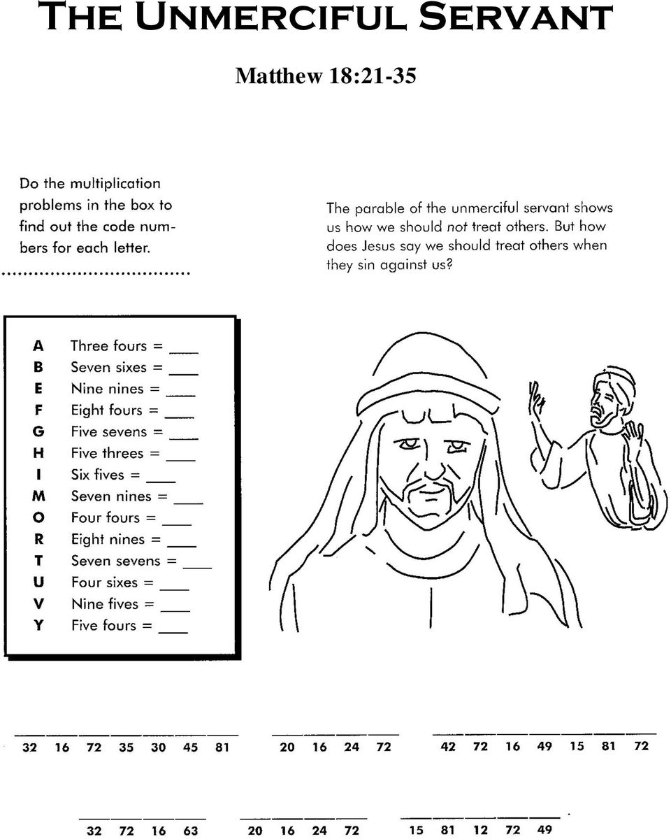 The unmerciful servant pdf for Unmerciful servant coloring page