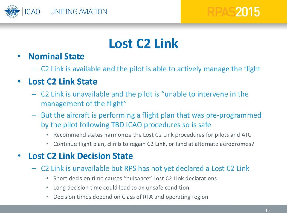 Link procedures for pilots and ATC Continue flight plan, climb to regain C2 Link, or land at alternate aerodromes?