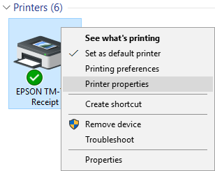 Verify Printer Connection To verify your receipt printer connection, follow these steps: 1. From the taskbar, type and select Devices and Printers.
