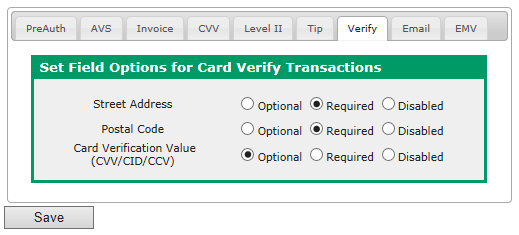 8. Click CVV. The following screen displays: 9. Select whether to require the Card Verification Value for keyed transactions. 10. Click Level II. The following screen displays: 11.