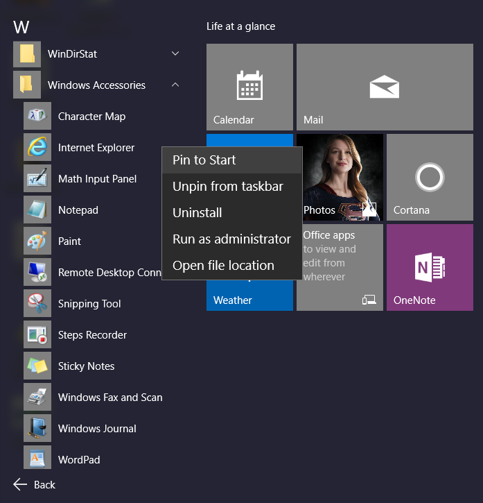 The All apps menu list displays: 3. Scroll down to W and click Windows Accessories. 4.