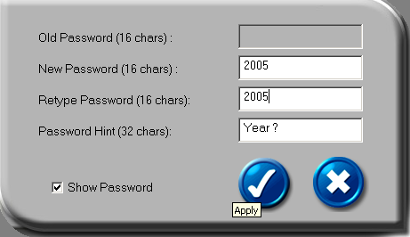 Set up password: If no password exists, simply enter a password of your choice up to 16 characters in length.