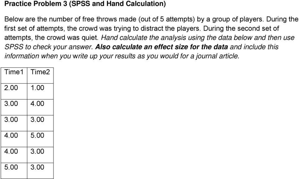 Hand calculate the analysis using the data below and then use SPSS to check your answer.