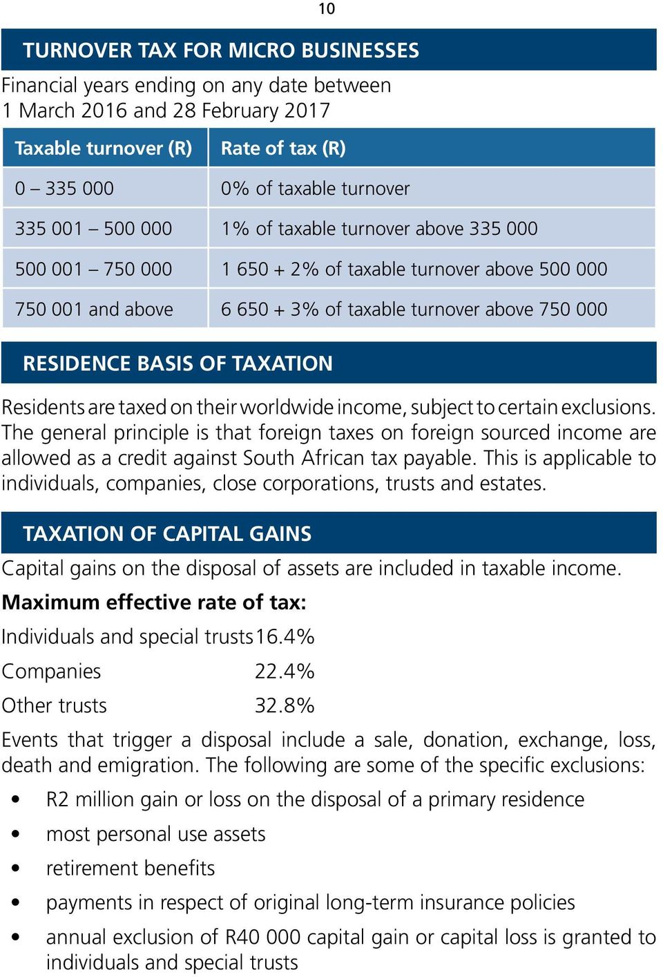 are taxed on their worldwide income, subject to certain exclusions. The general principle is that foreign taxes on foreign sourced income are allowed as a credit against South African tax payable.