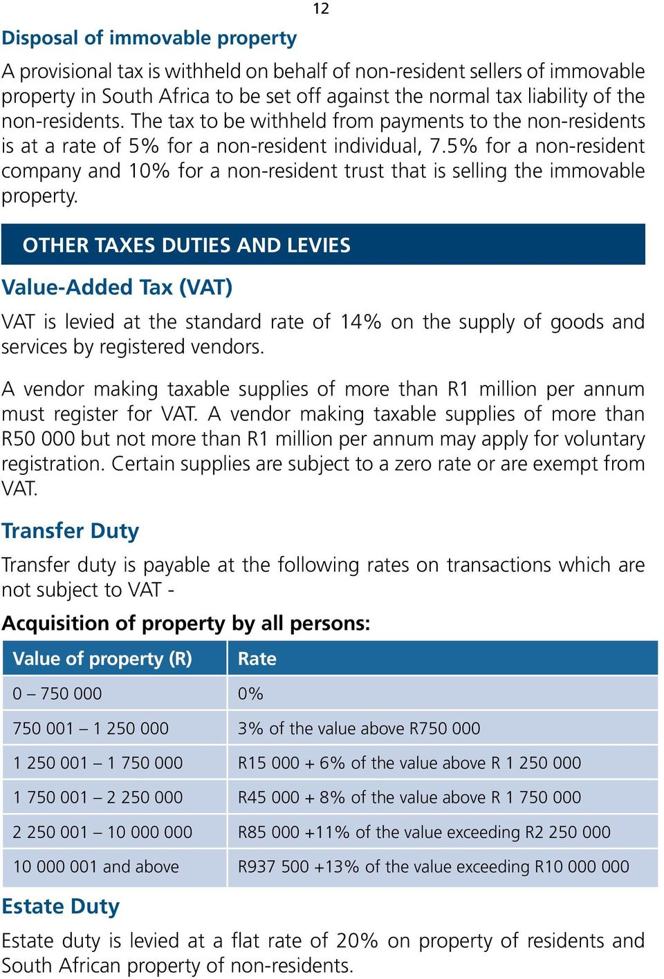 5% for a non-resident company and 10% for a non-resident trust that is selling the immovable property.