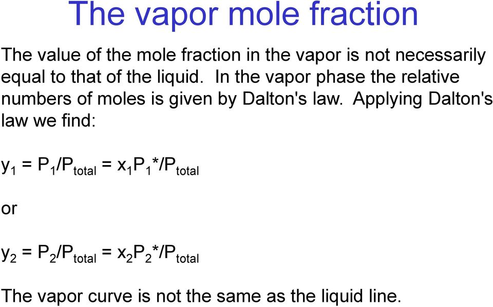 In the vapor phase the relative numbers of moles is given by Dalton's law.