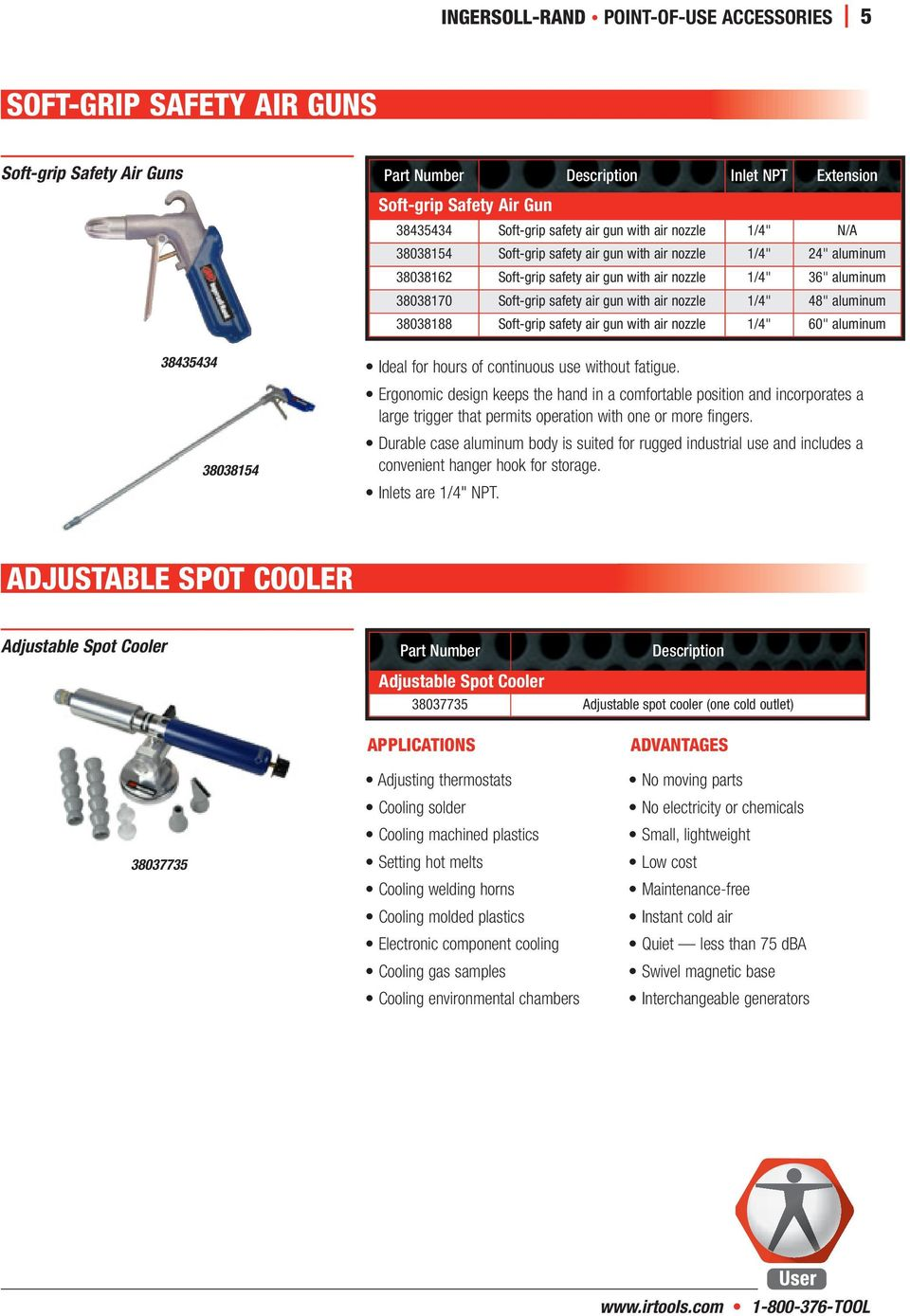"nozzle 1/4"" 48"" aluminum 38038188 Soft-grip safety air gun with air nozzle 1/4"" 60"" aluminum Ideal for hours of continuous use without fatigue."