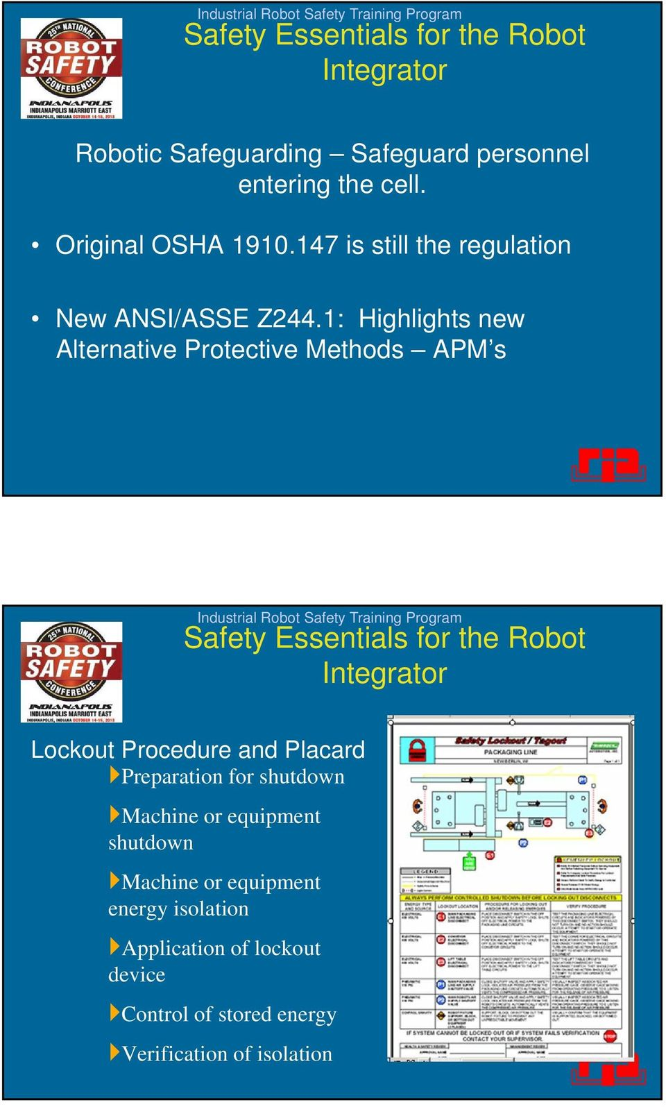 1: Highlights new Alternative Protective Methods APM s Lockout Procedure and Placard