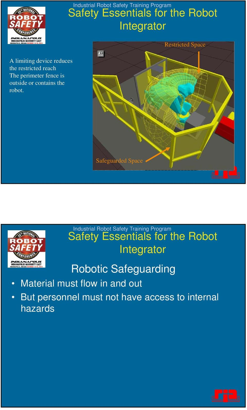 Safeguarded Space Robotic Safeguarding Material must flow in
